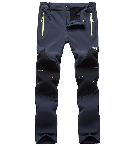 f51fbb12d42 Superora Pantalones de Senderismo Impermeables para Hombre Pantalón de  Trekking Softshell Pants Hombres de Acampada Esquí Escalada con Forro  Polar: ...