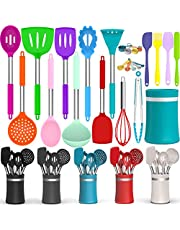 Roll Over Image to Zoom in Silicone Cooking Utensil Kitchen Utensil Set, 26 Pcs Non-Stick Cooking Utensils Spatula Set with Holder by AIKKIL, Heat Resistant Kitchen Gadgets Tools Set for Cookware