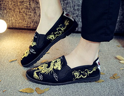 Avacostume Hombres Chinese Traditional Bordado Casual Walking Loafers Negro 1