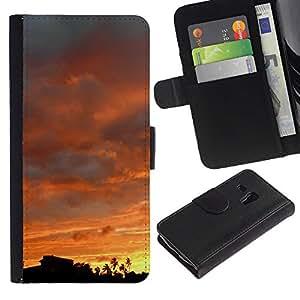 "Samsung Galaxy S3 MINI / i8190 (Not For Galaxy S3) , la tarjeta de Crédito Slots PU Funda de cuero Monedero caso cubierta de piel ("" Sky Sunset Sunrise View Trees Forest Clouds"")"