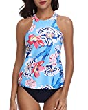 HOLIPICK Women Two Piece Plus Size Sexy Backless High Neck Halter Floral Printed Top with Hipster Bottoms Tankini Set Flower XL