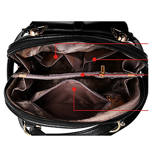 Bag Black Shoulders Saymequeen Cartoon Fasion PU Cute Travel black Bag Women Eyes Backpack flight 00XqYr