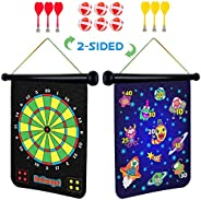 Power Your Fun Magnetic Dart Board for Kids - Roll Up Double Sided Toy Dart Board Indoor Outdoor Dart Board Se