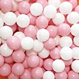 MoonxHome Pit Balls Crush Proof Plastic Children's Toy Balls Macaron Ocean Balls 2.15 Inch Pack of 100 White&Pink
