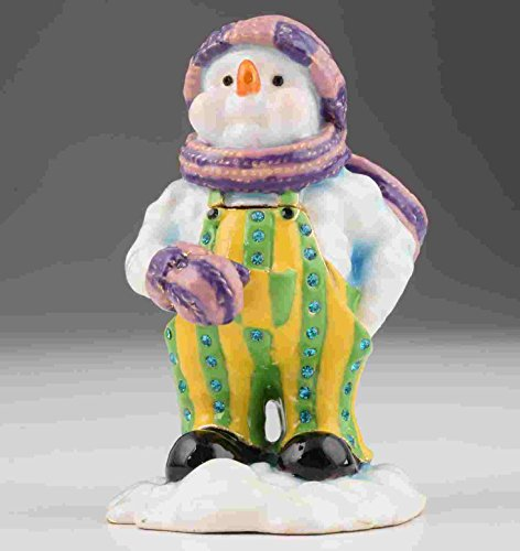 Decorated Snowman (Snowman Cristmas Faberge Styled Trinket Box Handmade Decorated with Swarovski Crystals)