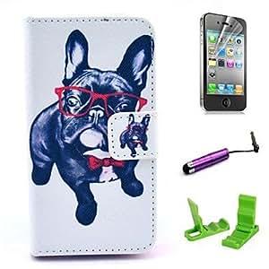 WQQ patrón gafas perro caja de cuero de la PU con el protector de pantalla y el stylus para el iphone 4 / 4s