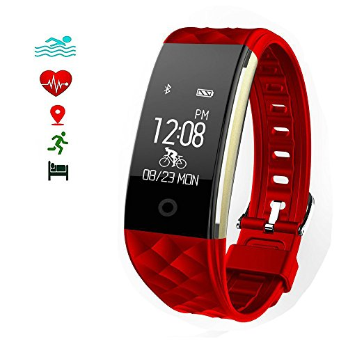 Fitness Tracker Watch,Tigerhu Smartband Heart Rate Monitor Waterproof IP67 Touch Screen with Sleep Monitor/Step Tracker/ Calorie Counter/Call Notification Push for Android /IOS Smartphones(Red)