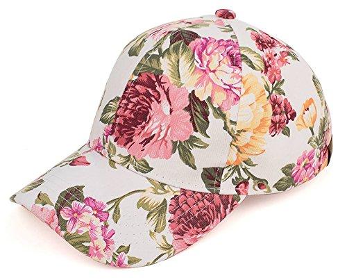 H-6053-74625 Floral Print Baseball Cap - Peony (Ivory)