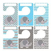Closet Doodles 6 Clothing Dividers Blue Gray Elephant Plus 48 Sorting Labels