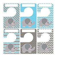 Closet Doodles 6 Clothing Dividers Blue Gray Elephant Plus 48 Sorting Labels