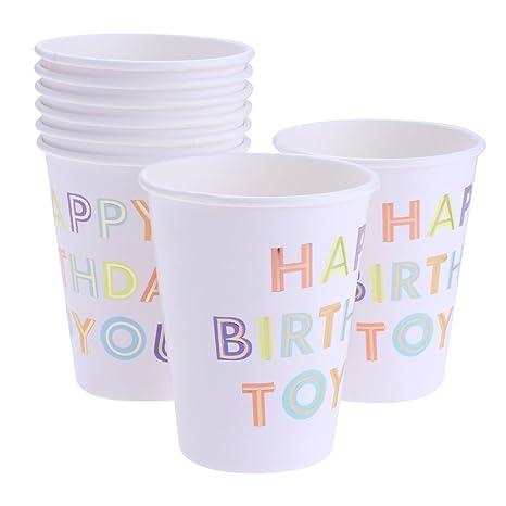 8x Taza Cumpleaños Celebración Feliz Cumpleaños Desechables ...