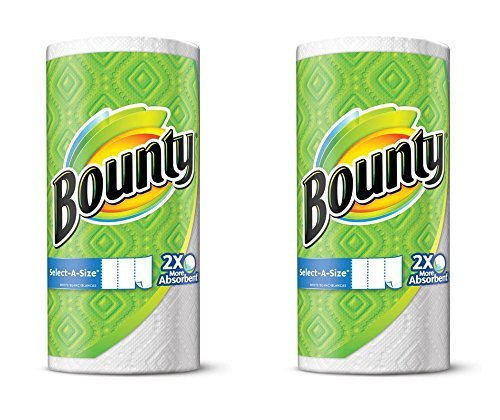 Bounty Select-A-Size, 2 x More Absorbent Paper Towels Roll, 11 x 5.9-Inches, White (242 (Absorbent Paper)