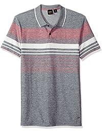 Boss Orange Men's Cotton Linen Multi Color Melange Stripe Polo