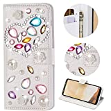 Stysen Galaxy S7 Edge Wallet Case,Galaxy S7 Edge Bling Flip Case,Luxury Handmade Diamond Love Heart Design Leather Shiny Case Cover for Samsung Galaxy S7 Edge-Love Heart