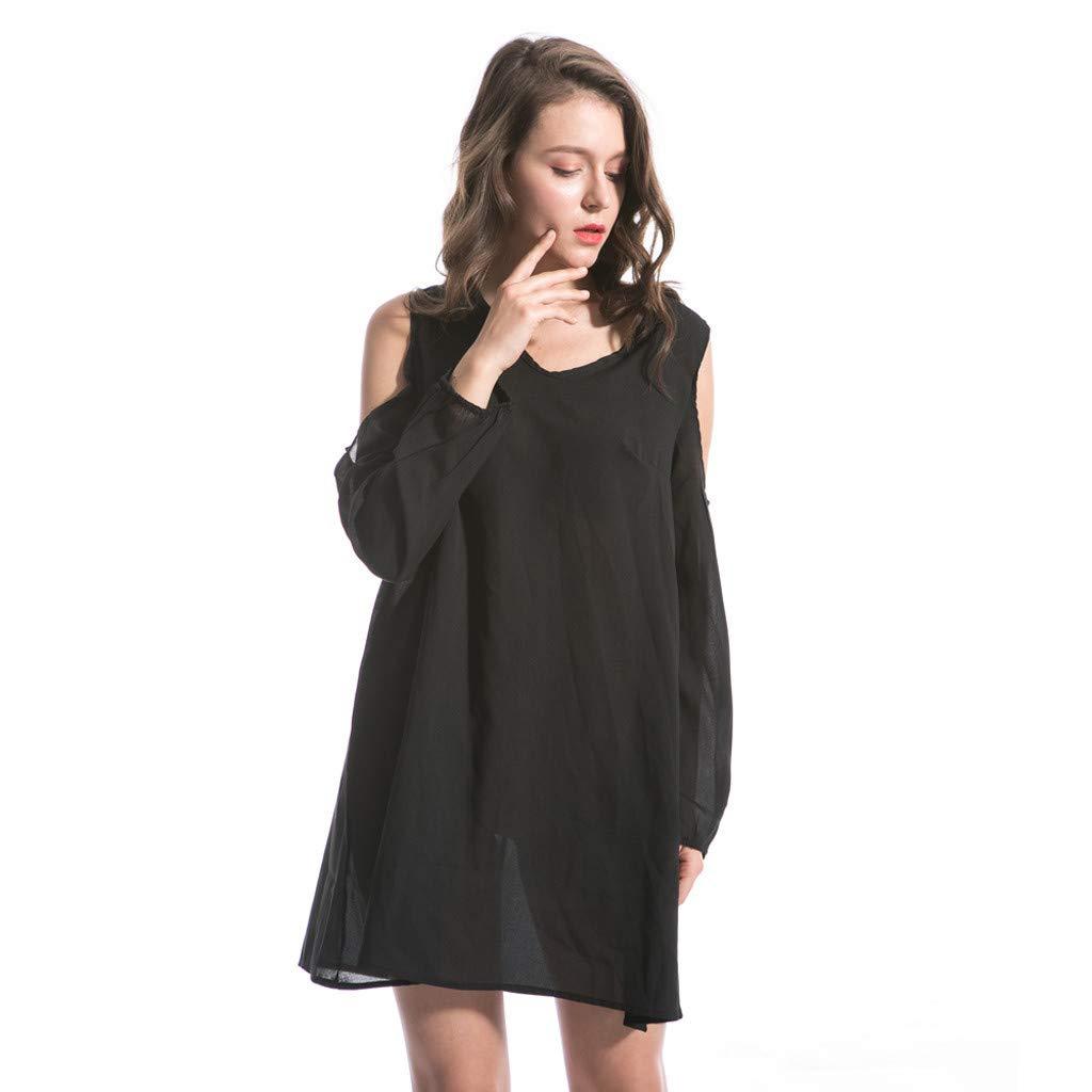 Clothful  Women Dress, Women Fashion Chiffon Solid V-Neck Long-Sleeved Shoulder Hollow 6XL Loose Dress Black by Clothful (Image #1)