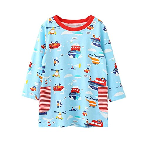 Baby Clothes, Efaster Lovely Girls Children Long-sleeved Cartoon Pattern Dresses (3Y, Multicolored)