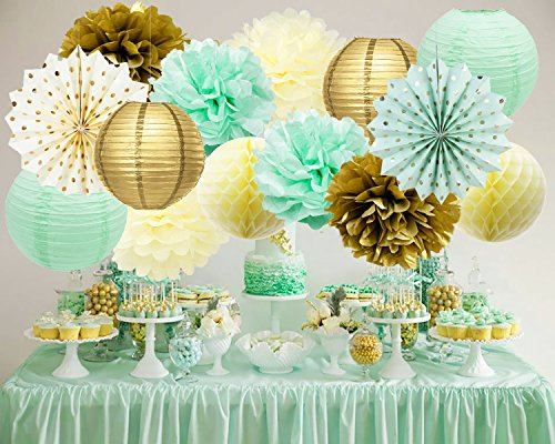 Mint Gold Birthday Decorations Mint Cream Gold Polka Dot Paper Fan Tissue Paper Pom Pom Honeycomb Balls for Trial Baby Shower Decorations Mint Gold First Birthday Bridal Shower Decorations (Adult Decorations Party)
