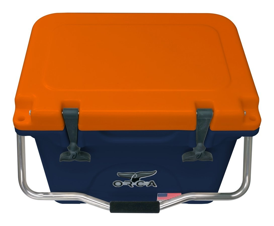 ORCA ORCNA/OR020 Cooler with Single Flex-Grip Stainless Steel Handle for Simple Solo Portage, 20 quart, Navy/Orange