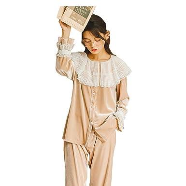 Señoras de Terciopelo Dorado Pijamas Vestido de Manga Larga con ...