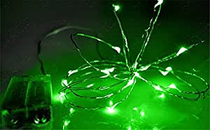 Gorgeouseve Battery Operated 6ft(2m) 20 LED Flexible Silver Copper Wire String Lights Xmas Home and Garden Decoration for Christmas (Green)