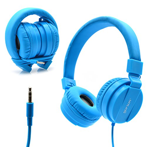 Bluelark Foldable Over Ear Headphones – Adjustable Lightweight Folding Wired Headphones Stereo Audio Corded Headset for Smartphones, PC, Laptop, MP3/ MP4 Player and More (Blue)