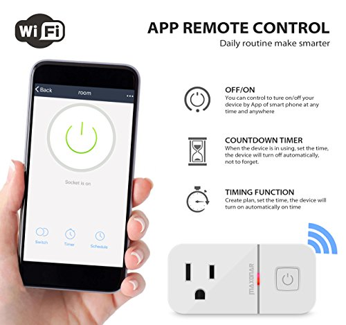 Mini Smart Plug Compatible with Alexa, Maxonar 2 Pack Wifi Smart Socket  with Amazon echo Google Assistant Remote Voice Control Easy Connection with