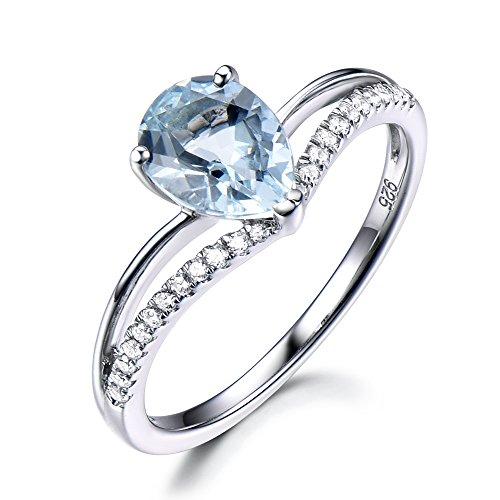 Blue Aquamarine Engagement Ring Pear Shaped Cut 925 Sterling Silver Split Shank CZ Diamond Wedding Ring by Milejewel Aquamarine engagement rings