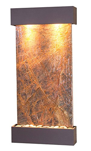 Whispering Creek Water Feature with Antique Bronze Trim and Square Edges (Brown Marble) (Wall Indoor Copper Fountain)