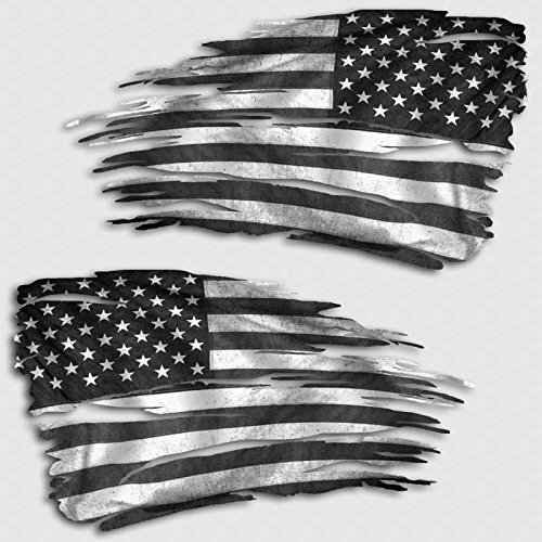 (Subdued American Flag Tattered Decal Set USA Distressed Sticker)