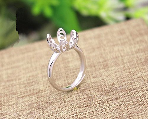 MFMei 1pc Sterling Silver Round Ring Blank, Adjustable Flower Ring Base ()
