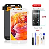 for Moto Z Play Screen Replacement-SRJTEK Parts for Motorola Z Play Droid LCD Replacement, XT1635-02 XT1635-01 LCD Screen Touch Digitizer Glass Display Assembly Repair kit +Tempered Glass,White