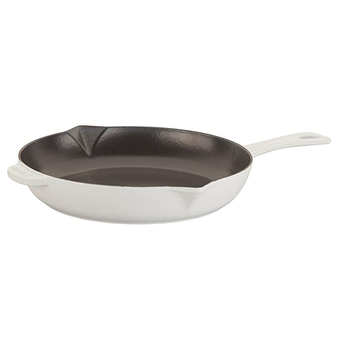 Staub 1222602 Cast Iron Enameled Frying Pan, 10 Inch, White by Staub