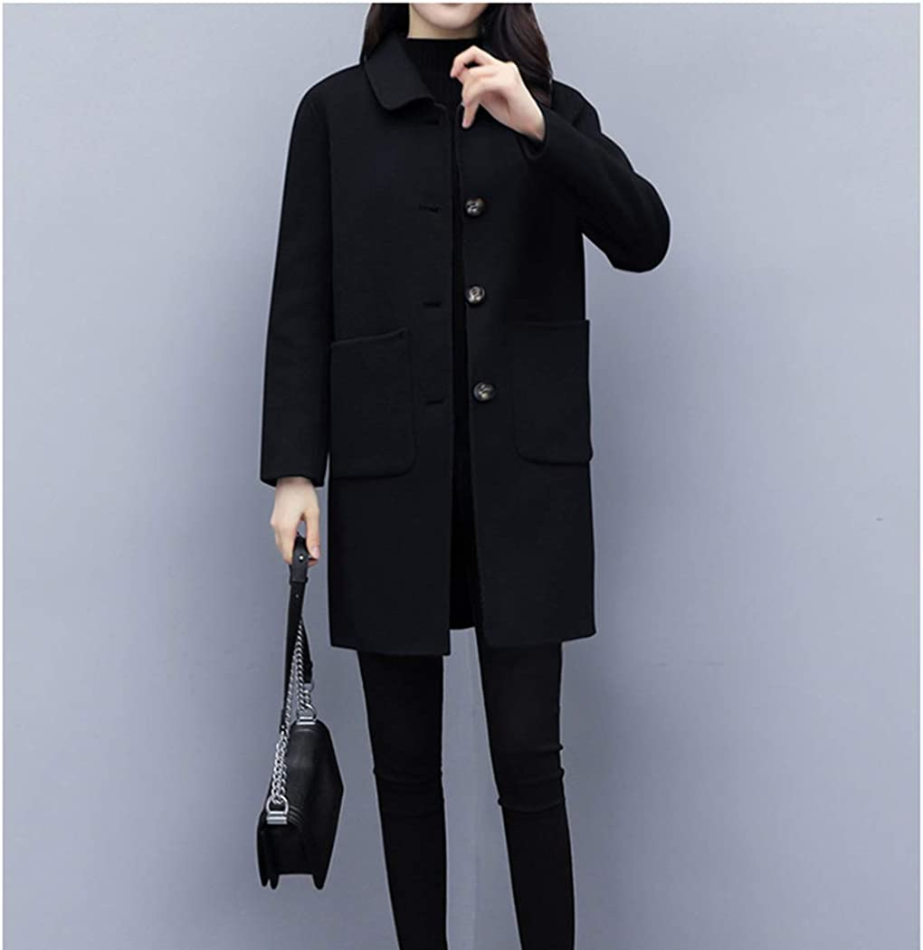 Hixiaohe Womens Winter Solid Single Breasted Pea Coat Mid-Long Wool Blend Coat