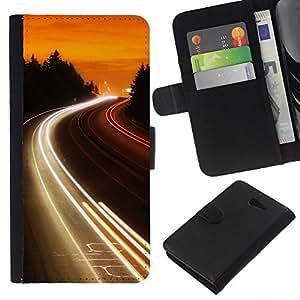 LECELL--Cuero de la tarjeta la carpeta del tirón Smartphone Slots Protección Holder For Sony Xperia M2 -- Carretera Luces Glow --