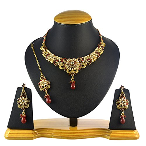 Ethnic Indian Artisan Jewelry Set Traditional designer Necklace SetMINE0108MA by Dancing Girl - Costumes Indian Jewelry