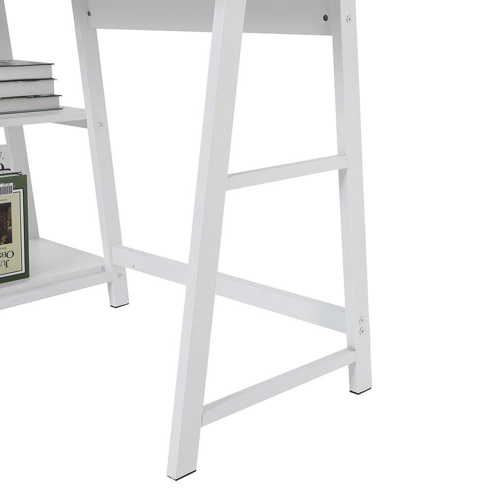 Greensen Scrivania Multifunzione per Computer Portatile Scrivania da Ufficio Legno e Acciaio 120 x 60 x 75,5 cm Bianco per Casa//Ufficio con Ripiano