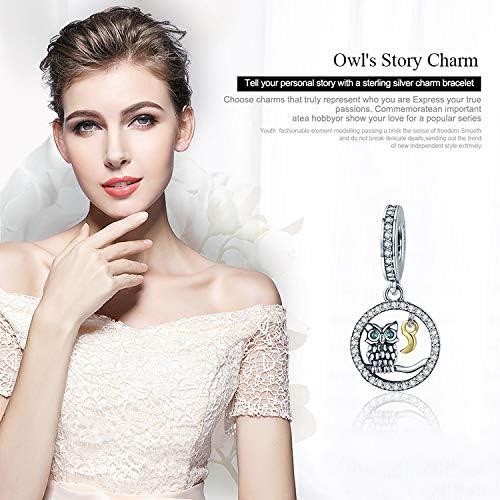 Chouette et lune authentique en argent sterling 925 avec motif hiboux et animal de lune pour bracelets /à breloques pour femme