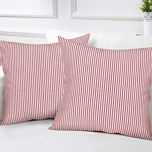 (cinsey Striped Throw Pillow Covers Woven Decorative Modern Square Farmhouse Pillowcases for Couch Bed Sofa Car,Set of 2, 18 x 18 inches(45x45cm), Red White Striped)