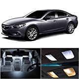 LEDpartsNow 2014-2017 Mazda 6 Mazda6 LED Interior Lights Accessories Replacement Package Kit (9 Pieces), WHITE