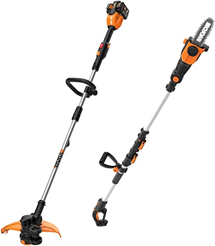 WORX WG184 40V Power Share 13 Cordless String Trimmer Wheeled Edger 2x20V Batteries with Pole Saw, Bare Tool Only