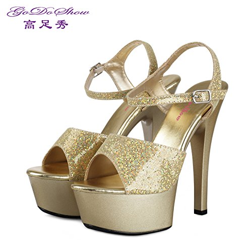 Fine Paint Sandals Sandals High Gold Heels Platform Leather Summer Banquet Waterproof 15Cm Lin Shoes Xing Model With Women Uq8gx