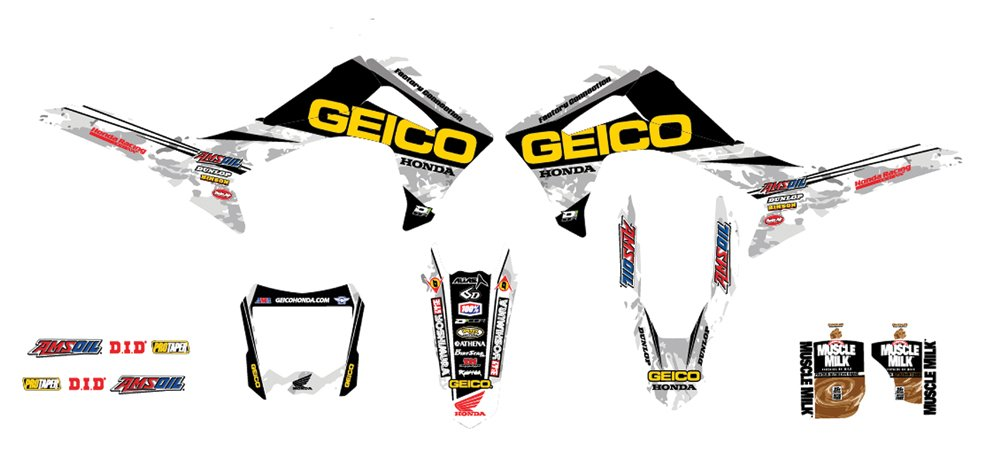 D'cor Visuals 20-10-825 2014 Geico Honda Camo Complete Kit (Black), 1 Pack