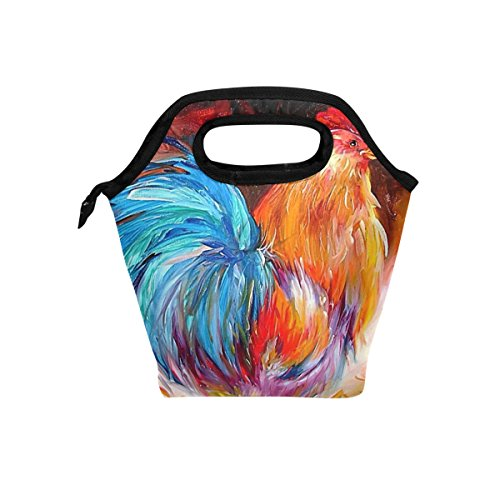 Cute Rooster Lunch Bag Insulated Lunch Box Tote for Women Men Kids