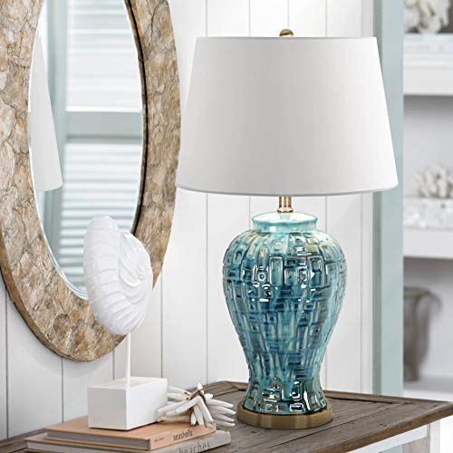 Asian Table Lamp Ceramic Teal Glaze Patterned Temple Jar White Empire Shade for Living Room Family Bedroom - Possini Euro Design ()