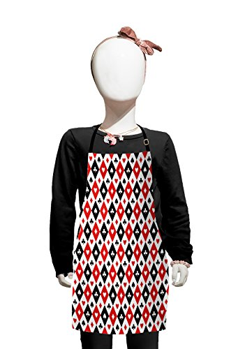 Lunarable Casino Kids Apron, Classical Game Pattern Gamblers Club Casino Theme Fortune Lucky Winner Poker, Boys Girls Apron Bib with Adjustable Ties for Cooking Baking and Painting, Black White Red -