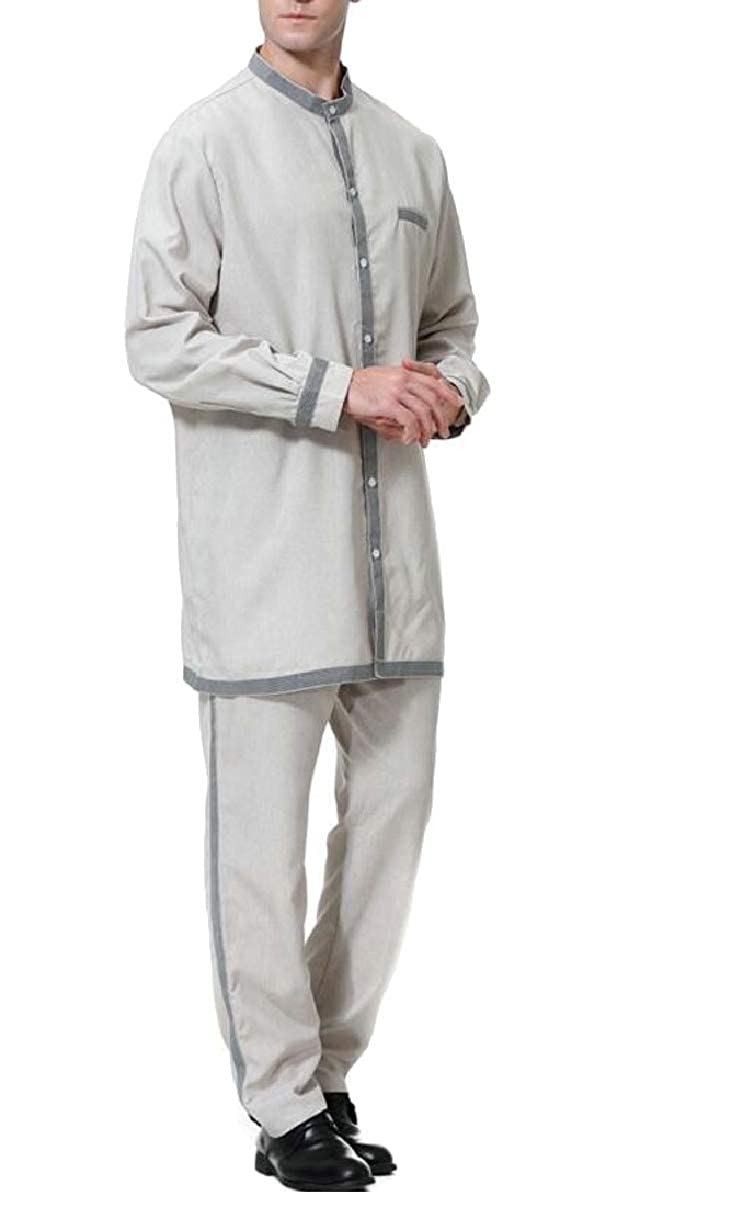 ZXFHZS Mens Muslim Abaya 2-Piece Set Long Sleeve Thobe Thawb Caftan Suit