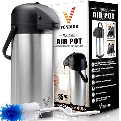 Coffee Pump Pots - Thermal Coffee Airpot - Beverage Dispenser (85oz.) By Vondior - Stainless Steel Urn For Hot/Cold Water Or, Pump Action, Party Thermos Carafe, Bunn Brush Bonus, Lid Pitcher