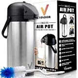 Thermal Coffee Airpot - Beverage Dispenser (85oz.) By Vondior - Stainless Steel Urn For Hot/Cold Water Or, Pump Action, Party Thermos Carafe, Bunn Brush Bonus, Lid Pitcher