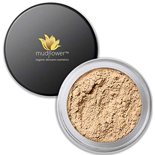 Mudflower Cosmetics Organic Powder Makeup Foundation, Light Medium, 1.0 ounce