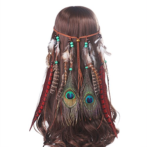 AWAYTR Feather Headband Festival Headwear - Bohomia Feather Rope Crown Headdress For Woman Girls]()